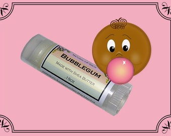 BUBBLE GUM Lip Balm made with Shea Butter - .15oz Oval Tube