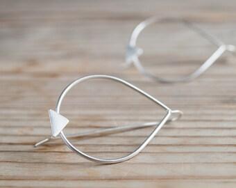Big teardrop and triangle sterling silver dangle earrings, minimalist handmade jewelry