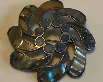 Sterling Silver Abalone Brooch/Pin
