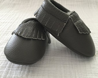 Gray Leather Moccasins
