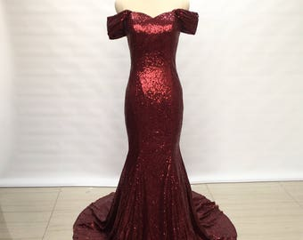 Off Shoulder Burgundy Sequin Long Prom Dress 2018 Mermaid