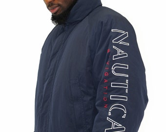 Vintage Nautica Navigation Reversible Duck Down Insulated Jacket Size Large