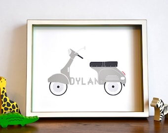 Personalized Typographic Vintage Scooter Name Print modern nursery wall art . children decor