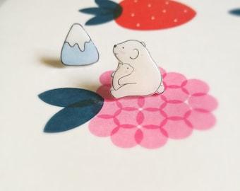 Kawaii Polar Bear Stud Earrings, Cute mismatched earrings, Cute Polar Bear, Mother and Child Earrings,Mismatched Earrings,Cute Stud Earrings