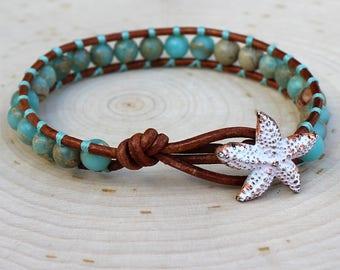 Amazonite Single Wrap Bracelet with Starfish Button