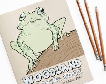 Woodland Coloring Book, Forest Animals and Wildlife, Woodland Gift