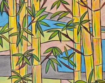 Bambu forest. Original Acrylic Painting.  Bird. Whimsical painting.