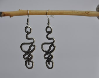 Earrings with stylized silver plated snake charm