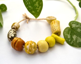 9 Handmade Ceramic Beads, Colorful Yellow Beads, Rustic Beads, White Clay Beads, Artisan Beads, Jewelry Supplies