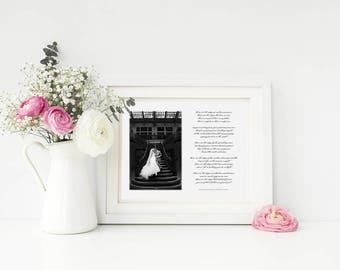 Wedding Gift, Anniversary Gift, Wedding Song Print, Wedding Song Lyrics, Newlywed Gift, Custom Wedding Gift, Elegant Print, Wedding Photo