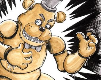 Freddy Fazbear artwork 9x12