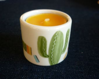 Candle holder hand painted porcelain Cactus