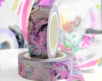 Abstract Purple Roses Designer Washi Tape 15mm wide