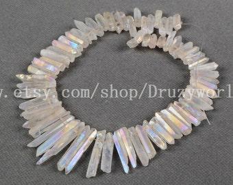 """16"""" Rainbow Cluster Angel Aura Quartz Titanium Crystal Point Loose Beads Top Drilled Raw Titanium Quartz Pendants For DIY Jewelry G0100"""