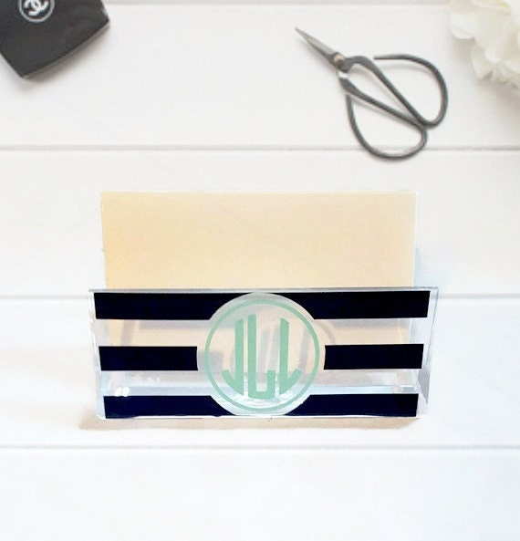 Personalized business card holder monogram business card reheart Images