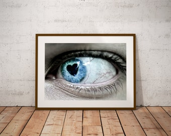 Blue Eyes Art, Heart, Pupil,Look of Love,Wedding, Bride,Groom, Mother's Day, Romance, Passion, Prints, Poster, Anniversary,Home Decor, Gift,