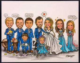 CUSTOM WEDDING CARICATURE, wedding caricature,portrait caricature, Bridemaids caricature, wedding gifts, groomsman gifts, bridesmaid gift