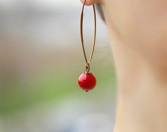 Natural Coral Earrings Dangle Long Earrings Coral Earrings Red Coral Earrings Natural Stone Jewelry Coral Red Earrings Everyday Earrings