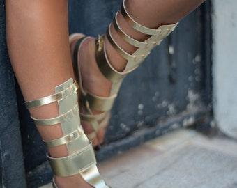 Sandals, leather sandals, greek sandals, gold sandals, greek women sandals, gladiator