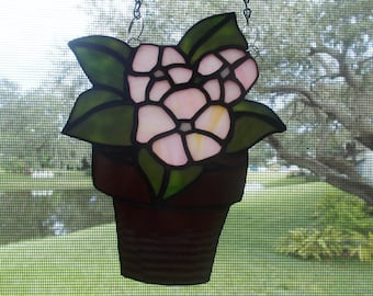 Stained Glass Potted Begonia Suncatcher
