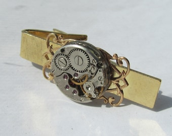 Steampunk Tie Clip watch movement Gift for Him Tie Bar Mens gift ideas Birthday Tie Tack Groomsmen gift Wedding Gift Tie Clasp gold plated