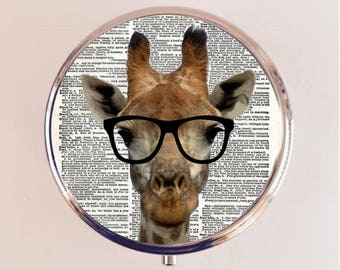 Giraffe Nerd Pill Box Case Pillbox Holder Trinket Stash Box Anthropomorphic Animal Pop Art