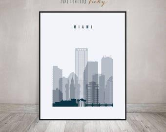 Miami art print, Poster, Travel Wall art, Florida cityscape, Miami skyline, City poster, Typography art, Home Decor, ArtPrintsVicky