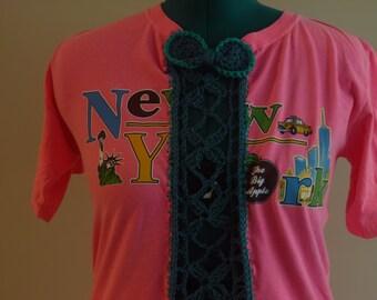 I Love New York  Womens Pink Tee Shirt  Eco  Fashion Upcycled