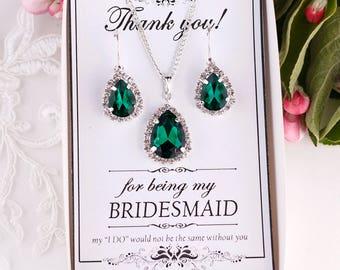 Emerald Earrings Emerald Green Earrings Crystal Green Earrings Green Bridesmaid Jewelry Pear Drop Earrings Green Necklace Emerald necklace