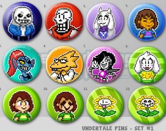 "Undertale Pixel Art Pins or Magnets 1.5"" Set of 12 - Sans 