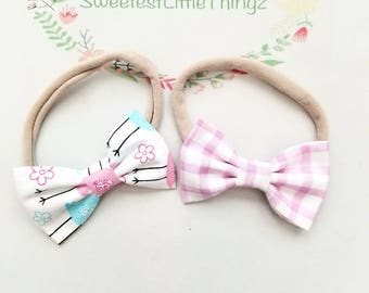 Pink gingham and pink and blue bird spring baby bows