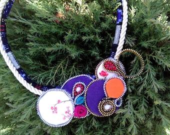 Bib necklace,colorful necklace, fabric necklace,zipper necklace,handmade unique necklace