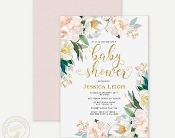 Baby Shower Invitation  | Floral Baby Shower invite | Blush Pink Watercolour Invite | Printable Baby Shower | Invitation 0711