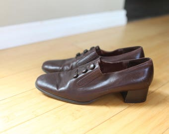 vintage sudini brown leather slip on oxford ankle boots womens 11