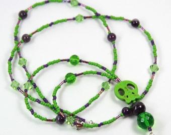 GREEN SKULL - Beaded Badge Holder, Beaded Lanyard, Skull Lanyard