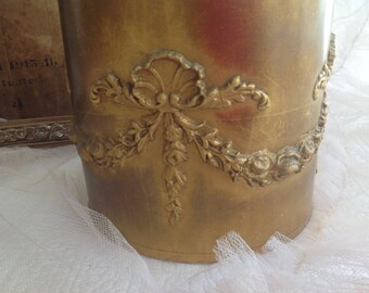 Stunning rare antique gold barbola swags*ribbons and roses lampshade