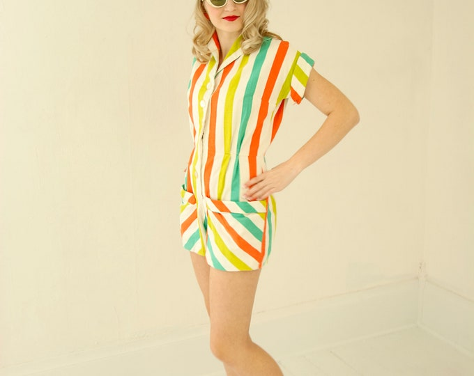 Vintage 1940s striped romper, salmon orange green yellow playsuit one-piece summer outfit, short sleeves, pin-up 1930s XS