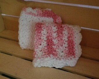 2 pack pink and white crochet dishcloths