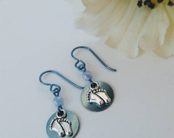 1st Mothers Day Gift Hypoallergenic New Mom Jewelry Baby Boy Expectant Mom Gift Baby Blue Charm Earrings Sensitive Ears Niobium