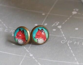 sweet foxes framed post earrings - teal background - animal illustration - antique brass
