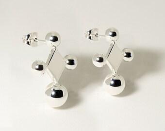 Donoma Silver Geometric Stud Earrings / Geometric Jewelry / Minimalist Jewelry / Cube Earrings / Handmade Earrings / Silver Earrings / Studs