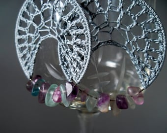 Cloudy Grey Spider Web Crochet Earrings With Fluorite Crystals in Shades of Romantic Lilac, Sage Green, Smokey Charcoal, Best Friend Gift