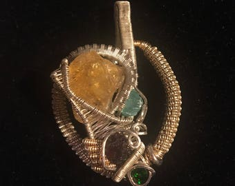 Wire wrap jewelry sterling Silver and gold wire handmade pendant