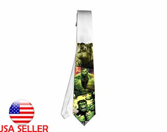 Hulk Marvel Avenger Anime Fan Art Necktie Neck Tie Unique Gift Cosplay