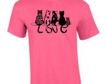 Cat Love T-shirt, Cat Lover Shirt, Cat Lover Gift, Cats, T-shirts,