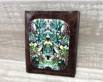 Leather Billfold Wallet (Zipper Pocket) in Succulents Photo Print, Brown * SALE * Coupon Codes