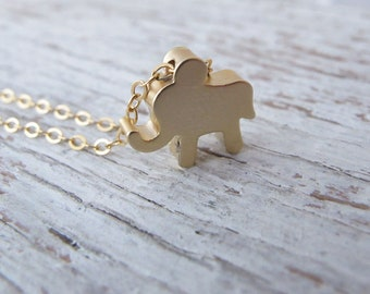 Tiny Gold Elephant Necklace, MATTE GOLD and gold filled chain, Add an initial, Personalized, Hand Stamped, Birthday Gift, Gift for Her