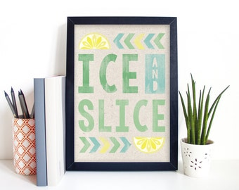 Ice and Slice Gin Themed Illustrated Art Print A4/A5/5 x 7""