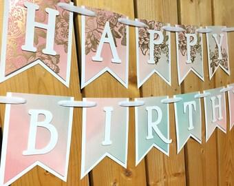 custom pink gold happy birthday banner, birthday banner, happy birthday banner, girl birthday, girl birthday party, first birthday, birthday