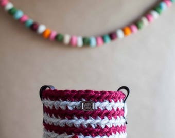 Crocheted mini basket with leather handles // featured in Wheat and Cranberry